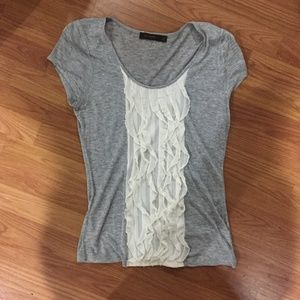 EUC The Limited Ruffle Front Heathered Tee Sz M